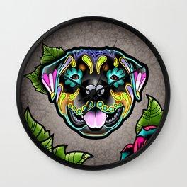 Rottweiler - Day of the Dead Sugar Skull Dog Wall Clock