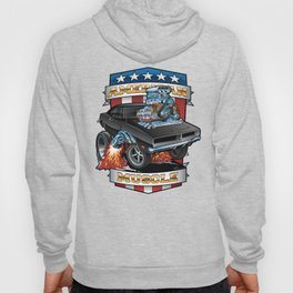 American Muscle Patriotic Classic Muscle Car Cartoon Illustration Hoody