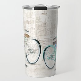 Vintage Bicycles With a City Background Travel Mug