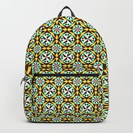 Barcelona cement tile in yellow, brown and blue Backpack