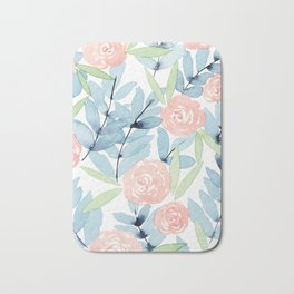Flowers in Blue Bath Mat