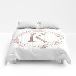 Letter K Rose Gold Pink Initial Monogram Comforters