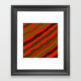 Merry Red Green Holiday Stripes Framed Art Print