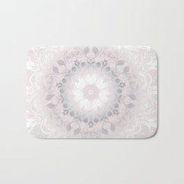 Blush Gray White Floral Mandala Bath Mat