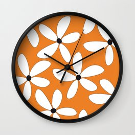 Happy Flowers Orange Wall Clock