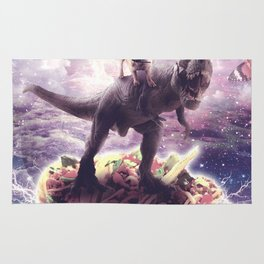 Space Pug Riding Dinosaur Unicorn - Pizza & Taco Rug