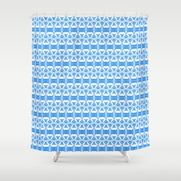 Dividers 02 in Blue over White Shower Curtain