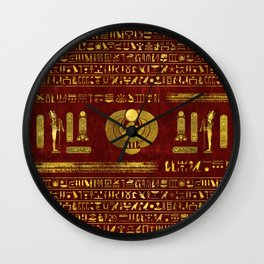 Golden Egyptian Scarab on red leather Wall Clock
