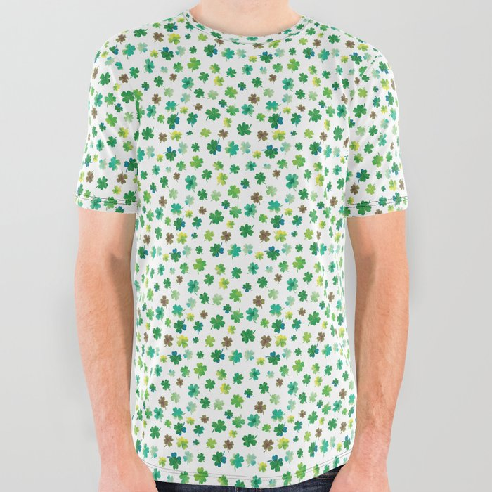 Lucky Watercolor Clovers All Over Graphic Tee