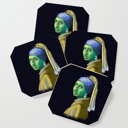 Alien With A Pearl Earring Coaster