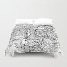 Prague White Map Duvet Cover