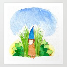 elf with cup Art Print