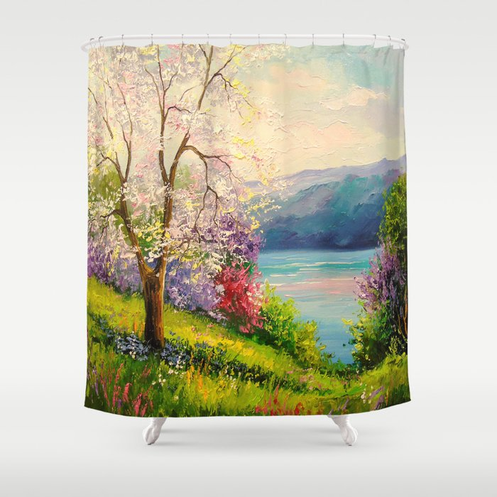 Cherry Blossom By The River Shower Curtain