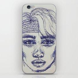 Boy in blue pen iPhone Skin