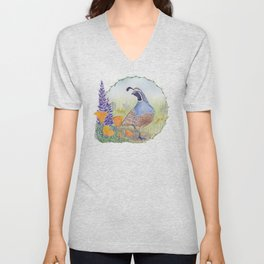 California Quail with Poppies and Lupine on Blue Unisex V-Neck