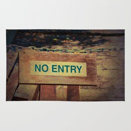 No Entry sign hanging on a chain Rug