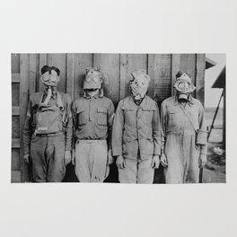 American, British, French, & German Gas Masks Rug