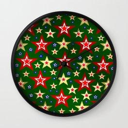 grenn,blue,gold,red stars xmas pattern Wall Clock