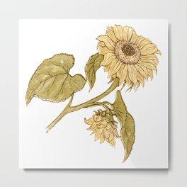 Vintage Kate Greenaway Sunflower Metal Print