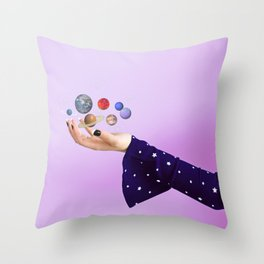 The Whole Universe is in the Palm of Your Hands Throw Pillow