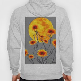 Red Gold Color Fantasy Sunflowers  Flowers Moon  Art Hoody