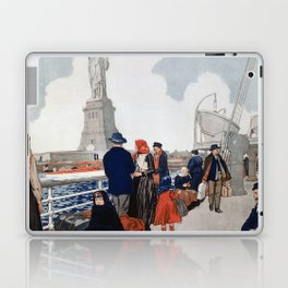 Vintage Immigrants & Statue of Liberty Illustration (1917) Laptop & iPad Skin