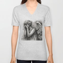 Weeping Angel Watercolor Unisex V-Neck