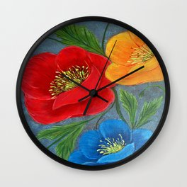Poppies-3 Wall Clock
