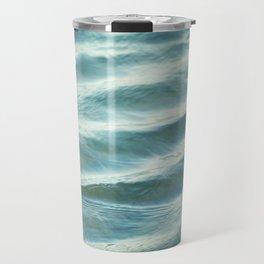 Water Abstract Photography, Ocean Ripples, Blue Teal Sea Travel Mug