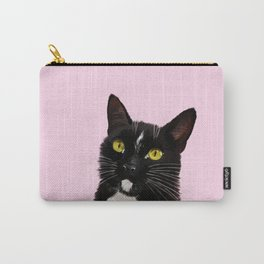 Black Cat in Pink Carry-All Pouch