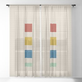 four elements    tweed & primary colors Sheer Curtain