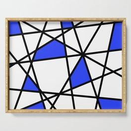 Geometric Modern triangles - white blue Serving Tray