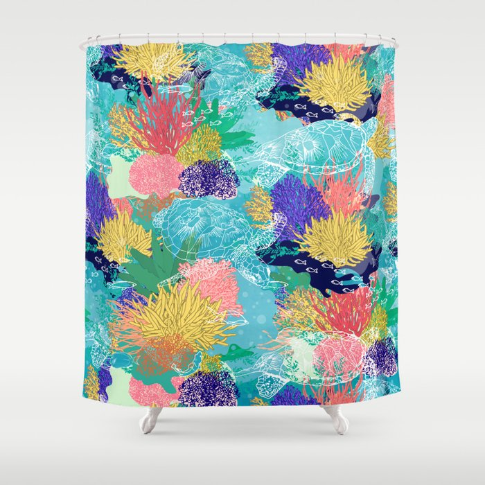 Cute Colorful Ocean Coral Reefs And Turtles Design Shower