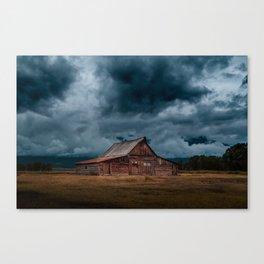 Log Cabin Barn Rural Landscape Canvas Print