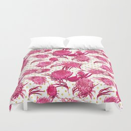 Pink and Gold Australian Native Floral Pattern - Protea, Grevillea and Eucalyptus Duvet Cover