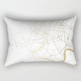 Bangkok Thailand Minimal Street Map - Gold Metallic and White II Rectangular Pillow