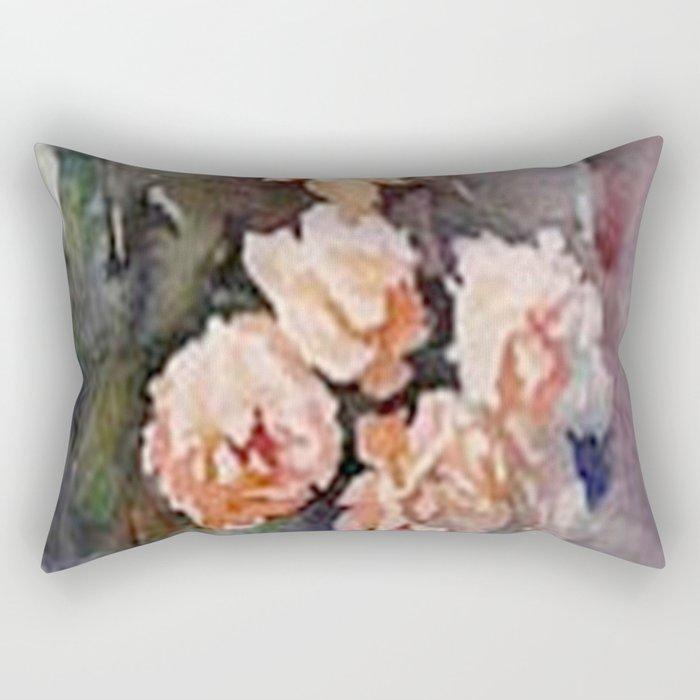 Ivory Roses Watercolor Tender Bouqet Rectangular Pillow