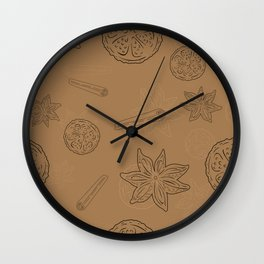 Pattern with Cinnamon and lemon Wall Clock