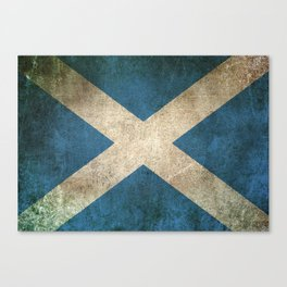 Old and Worn Distressed Vintage Flag of Scotland Canvas Print