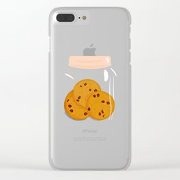 Chocolate chip cookie, homemade biscuit in glass jar Clear iPhone Case