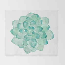 Watercolor Succulent print in seafoam green Throw Blanket