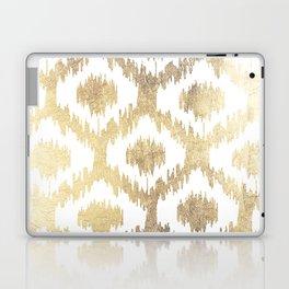 Modern white hand drawn ikat pattern faux gold  Laptop & iPad Skin