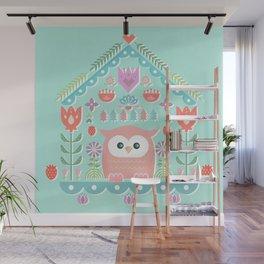 Scandinavian Folk Style Owl Bird House Wall Mural