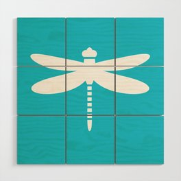Dragonfly (white on blue) Wood Wall Art