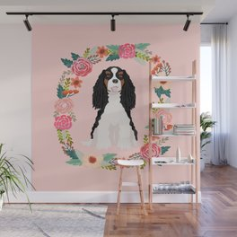 Cavalier king charles spaniel tricolored dog floral wreath dog gifts pet portraits Wall Mural