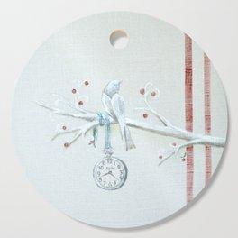 Winter bird on linen Cutting Board