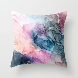 Heavenly Pastels: Original Abstract Ink Painting Throw Pillow