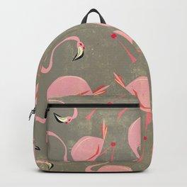 Grey Flamingo Pattern Backpack