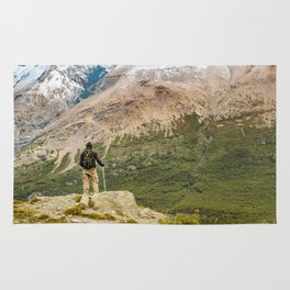 Man at Top of Andes Mountains, Patagonia - Argentina Rug