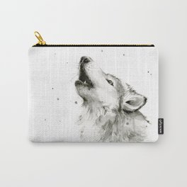 Wolf Howling Watercolor Animals Painting Black and White Carry-All Pouch